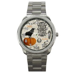 Vintage Halloween Sport Metal Watch by Valentinaart