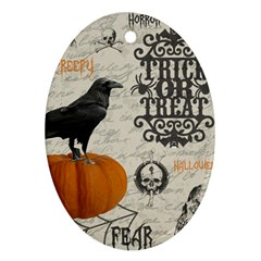Vintage Halloween Oval Ornament (two Sides) by Valentinaart