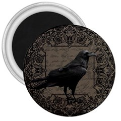 Vintage Halloween Raven 3  Magnets