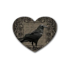 Vintage Halloween Raven Rubber Coaster (heart)  by Valentinaart