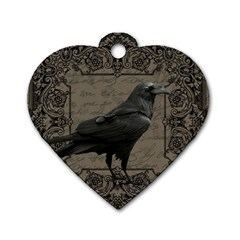 Vintage Halloween Raven Dog Tag Heart (one Side) by Valentinaart