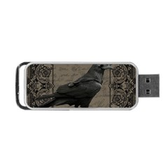 Vintage Halloween Raven Portable Usb Flash (two Sides)