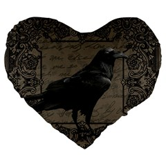 Vintage Halloween Raven Large 19  Premium Heart Shape Cushions by Valentinaart