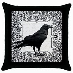 Vintage Halloween Raven Throw Pillow Case (black) by Valentinaart