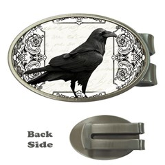 Vintage Halloween Raven Money Clips (oval)  by Valentinaart