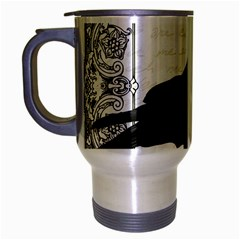 Vintage Halloween Raven Travel Mug (silver Gray) by Valentinaart