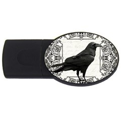 Vintage Halloween Raven Usb Flash Drive Oval (4 Gb) by Valentinaart
