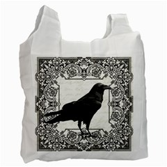 Vintage Halloween Raven Recycle Bag (one Side) by Valentinaart