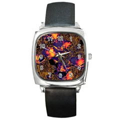 Amazing Glowing Flowers 2a Square Metal Watch by MoreColorsinLife