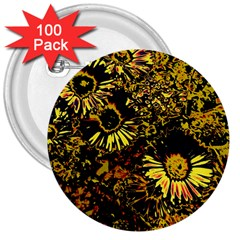 Amazing Neon Flowers B 3  Buttons (100 Pack)  by MoreColorsinLife