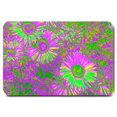 Amazing Neon Flowers A Large Doormat  by MoreColorsinLife
