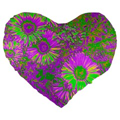 Amazing Neon Flowers A Large 19  Premium Heart Shape Cushions