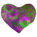Amazing Neon Flowers A Large 19  Premium Heart Shape Cushions Front