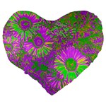 Amazing Neon Flowers A Large 19  Premium Heart Shape Cushions Back