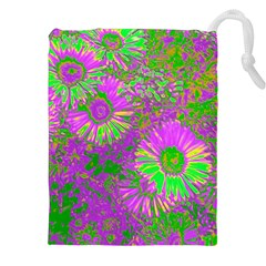Amazing Neon Flowers A Drawstring Pouches (xxl) by MoreColorsinLife