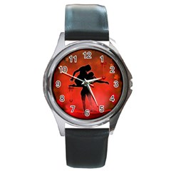 Dancing Couple On Red Background With Flowers And Hearts Round Metal Watch by FantasyWorld7