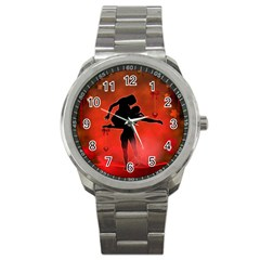Dancing Couple On Red Background With Flowers And Hearts Sport Metal Watch by FantasyWorld7