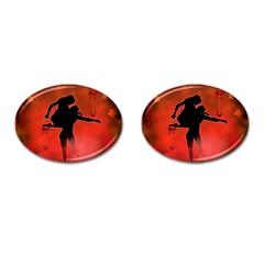 Dancing Couple On Red Background With Flowers And Hearts Cufflinks (oval) by FantasyWorld7