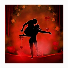 Dancing Couple On Red Background With Flowers And Hearts Medium Glasses Cloth (2 Side) by FantasyWorld7