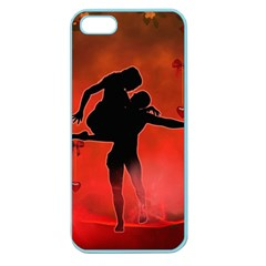 Dancing Couple On Red Background With Flowers And Hearts Apple Seamless Iphone 5 Case (color) by FantasyWorld7