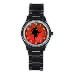 Dancing Couple On Red Background With Flowers And Hearts Stainless Steel Round Watch by FantasyWorld7