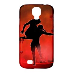Dancing Couple On Red Background With Flowers And Hearts Samsung Galaxy S4 Classic Hardshell Case (pc+silicone) by FantasyWorld7