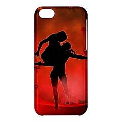 Dancing Couple On Red Background With Flowers And Hearts Apple Iphone 5c Hardshell Case by FantasyWorld7