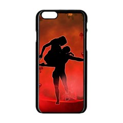 Dancing Couple On Red Background With Flowers And Hearts Apple Iphone 6/6s Black Enamel Case by FantasyWorld7