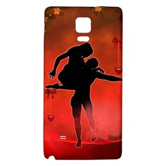 Dancing Couple On Red Background With Flowers And Hearts Galaxy Note 4 Back Case by FantasyWorld7