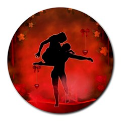Dancing Couple On Red Background With Flowers And Hearts Round Mousepads by FantasyWorld7