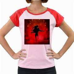 Dancing Couple On Red Background With Flowers And Hearts Women s Cap Sleeve T Shirt by FantasyWorld7