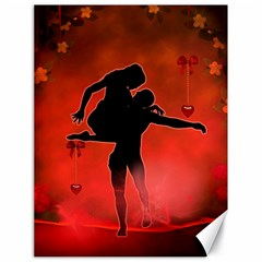 Dancing Couple On Red Background With Flowers And Hearts Canvas 18  X 24   by FantasyWorld7