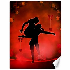 Dancing Couple On Red Background With Flowers And Hearts Canvas 36  X 48   by FantasyWorld7