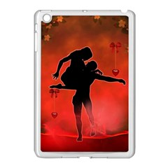 Dancing Couple On Red Background With Flowers And Hearts Apple Ipad Mini Case (white) by FantasyWorld7