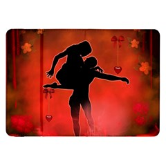 Dancing Couple On Red Background With Flowers And Hearts Samsung Galaxy Tab 8 9  P7300 Flip Case by FantasyWorld7
