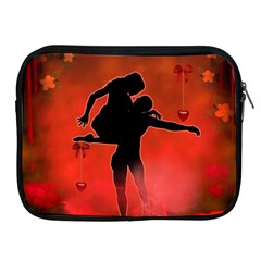 Dancing Couple On Red Background With Flowers And Hearts Apple Ipad 2/3/4 Zipper Cases by FantasyWorld7