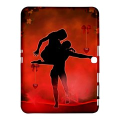 Dancing Couple On Red Background With Flowers And Hearts Samsung Galaxy Tab 4 (10 1 ) Hardshell Case  by FantasyWorld7