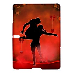 Dancing Couple On Red Background With Flowers And Hearts Samsung Galaxy Tab S (10 5 ) Hardshell Case  by FantasyWorld7