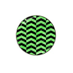 Chevron2 Black Marble & Green Watercolor Hat Clip Ball Marker by trendistuff
