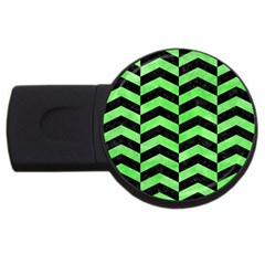 Chevron2 Black Marble & Green Watercolor Usb Flash Drive Round (4 Gb) by trendistuff