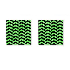 Chevron2 Black Marble & Green Watercolor Cufflinks (square) by trendistuff