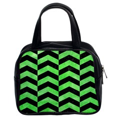 Chevron2 Black Marble & Green Watercolor Classic Handbags (2 Sides) by trendistuff