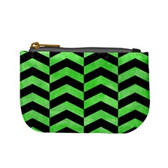 Chevron2 Black Marble & Green Watercolor Mini Coin Purses by trendistuff