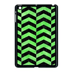 Chevron2 Black Marble & Green Watercolor Apple Ipad Mini Case (black)