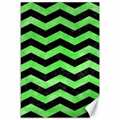 Chevron3 Black Marble & Green Watercolor Canvas 12  X 18   by trendistuff