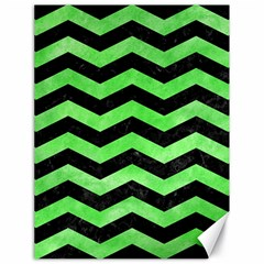 Chevron3 Black Marble & Green Watercolor Canvas 18  X 24   by trendistuff