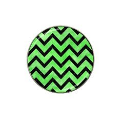 Chevron9 Black Marble & Green Watercolor (r) Hat Clip Ball Marker by trendistuff