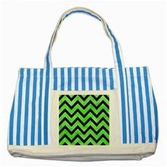 Chevron9 Black Marble & Green Watercolor (r) Striped Blue Tote Bag by trendistuff