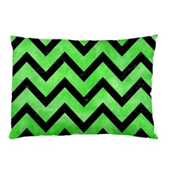 Chevron9 Black Marble & Green Watercolor (r) Pillow Case (two Sides) by trendistuff