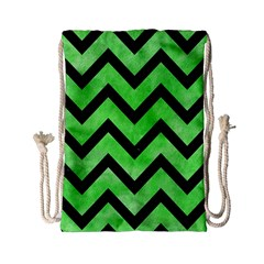 Chevron9 Black Marble & Green Watercolor (r) Drawstring Bag (small) by trendistuff